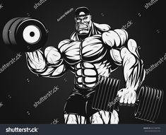 Bodybuilder with dumbbell Bodybuilding Logo, Bodybuilding Pictures, Bodybuilding Motivation, Strongest Animal, Happy Birthday Images, Fantasy Warrior, Photoshop Design, Cartoon Pics, King Kong