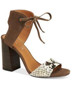 87e1bb46bf79 COACH Madison Two-Piece Block-Heel Sandals Shoes - Sandals   Flip Flops -  Macy s
