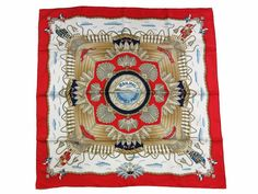 Authentic Excellent HERMES Scarf 100% Silk RAILING Red Multi-Color 33921