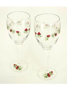 Hand-Painted Wine Glasses  Graceful Red Rose by HandPaintedPetals