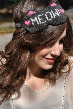 "Ravelry: ""Meow!"" Reversible Kitty Cat Eye Mask pattern by Lauren Riker"