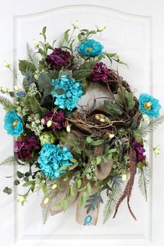 Front Door Wreath, Spring Wreath, Bird Nest, Burlap Wreath, Summer Wreath, Plum & Blue Hydrangeas, Country Decor -- FREE SHIPPING. $154.00, via Etsy.