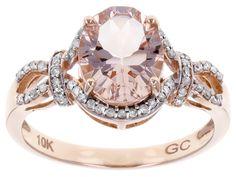 2.00ct Oval Cor-de-rosa Morganite(Tm) With .21ctw Round White Diamonds 10k Rose Gold Ring