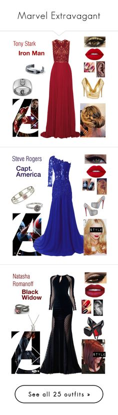 """Marvel Extravagant"" by queenreigns-916 ❤ liked on Polyvore featuring Marvel, Elie Saab, Steve Madden, Lime Crime, Marvel Comics, Zuhair Murad, Christian Louboutin, Casadei, Disturbia and Allurez"