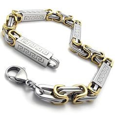 Beydodo Mens Stainless Steel Bracelet Great Wall Totem Link Chain, Gold Silver, 23*0.7CM - http://www.jewelryfashionlife.com/beydodo-mens-stainless-steel-bracelet-great-wall-totem-link-chain-gold-silver-230-7cm/