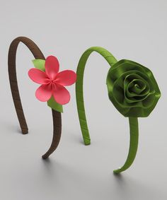 Take a look at this Green & Pink Flower Stella Headband Set by Ribbies Clippies on #zulily today!
