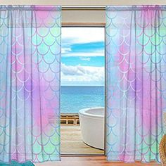 My Little Nest Colorful Magic Mermaid Fish Scale Pattern Sheer Window Curtains Drapes 55 X 78 Inch Decorative Window Treatments for Bedroom Living Room 2 Panels Bathroom Window Curtains, Bathroom Window Treatments, Drapes Curtains, Mermaid Room Decor, Little Mermaid Bedroom, Mermaid Nursery, Little Girl Rooms, Room Themes, Shared Kids Rooms