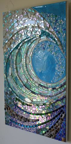 stained glass for mosaics big wave studio giant wave glass mosaic this looks like work by or shoemaker if you know the artist would you let me know so i can credit this stained glassBilderesultat for american mosaic wave mirror framesBig Wave mosaic Mosaic Madness, Cd Crafts, Cd Art, Cd Wall Art, Wall Mural, Mosaic Projects, Mosaic Ideas, Mosaic Crafts, Mosaic Designs