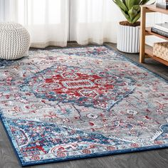 Jonathan Y Modern Persian Vintage Medallion Light Red/Navy Distressed Area Rug x Blue (Polypropylene, Border) Persian Motifs, Persian Rug, Turkey Colors, Navy Rug, Modern Classic, Vintage Modern, Power Loom, Outdoor Rugs, Blue Area Rugs