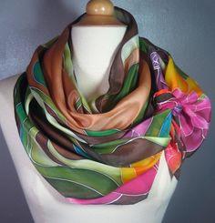 Hand painted silk scarf brown green pink by MuseSilkPaintings
