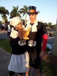 Pilgrim costumes, turkey trot, thanksgiving, running