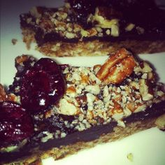 Raw choco pecan pie with cranberries