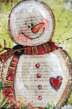 snowman mixed media - Bing Images Turned out really cute - just like picture : ) Christmas Mix, Christmas Projects, Holiday Crafts, Xmas, Mixed Media Canvas, Mixed Media Art, Paper Art, Paper Crafts, Frosty The Snowmen