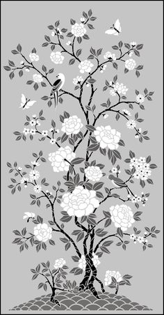 Chinese Style Small Peony Panel No 1 stencils, stensils and stencles Stencil Printing, Stencil Art, Stenciling, Stencil Walls, Stencil Patterns, Stencil Designs, Stencils Online, Chinoiserie Wallpaper, Floral Drawing