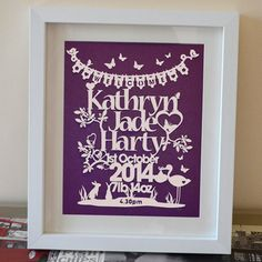Personalised new baby framed papercut