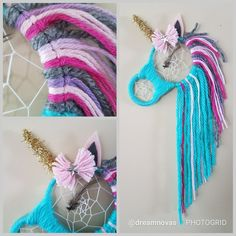 Teal unicorn dream catcher