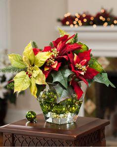 Mixed Poinsettia<br>Silk Flower Centerpiece