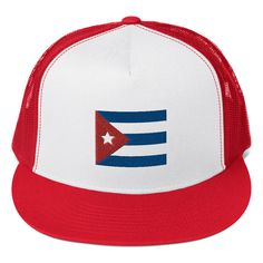 Cuban Flag Trucker Cap Cuban Flag, Raglan Shirts, Cool Fabric, Knit Beanie, Baby Bodysuit, Primary Colors, Great Gifts, Cap, Embroidery