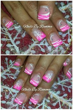 Acrylic nails with Christmas nail art. Nails By Ramona