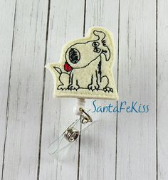 Dog ID Badge  Embroidered Felt Badge Reel  Retractable ID