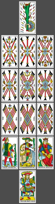 CBD Tarot de Marseille (based on the Nicholas Conver deck): Suit of Wands // yoav ben-dov, 2010
