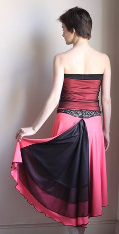 Beautiful tango skirt from stretch fabric with black mesh multiple tail. S/M/L size, limited edition, made in Canada.  Sizes Chart: S : Waist 24-26, Hip 35-37 M: Waist 27-29 , Hip 38-40 L: Waist 30-32 , Hip 41-43 Height : 54 - 58 If you have other size, please, dont forget to send me your measurements when you order clothing from my shop.  Elena, Tango Aura <3
