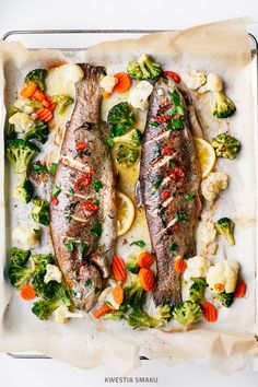Baked trout with butter chili and vegetables