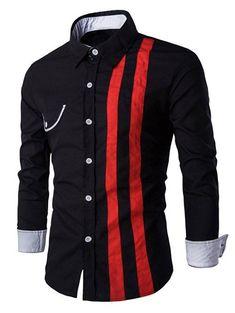 Flap Embellished Verticla Stripe Turn-Down Collar Long Sleeve Shirt For Men In Black,L | Twinkledeals.com
