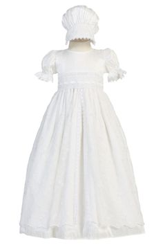 Silk, Lace & Floral Embroidered Tulle Christening Gown (Christine)