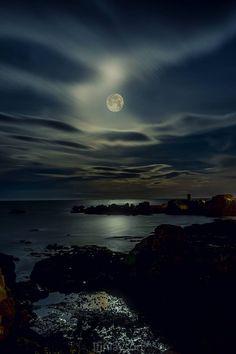 Moonlight over the sea, East Lothian, Scotland