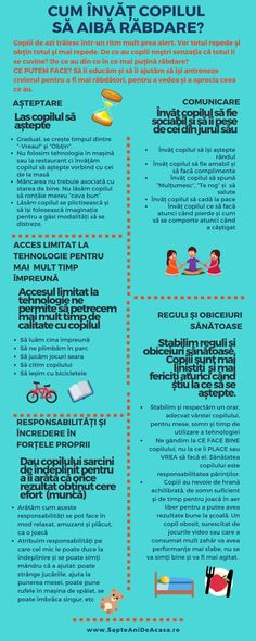 Cum învăț copilul să aibă răbdare? (Infografic) / Resurse parenting / 7 ani de acasă Kids And Parenting, Parenting Hacks, Daily Planner Pages, Positive Discipline, Emotional Intelligence, Family Kids, Kids Education, Social Platform, Learn English