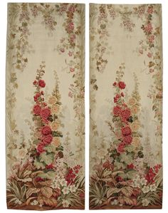 A PAIR OF AUBUSSON TAPESTRY PANELS  CIRCA 1900  woven with summer flowers and foliage, framed by trailing convolvulus on a light green ground.   height 10ft.; width 3ft. 7in. (and 9 additional inches folded in on the sides)  3.05m; 1m