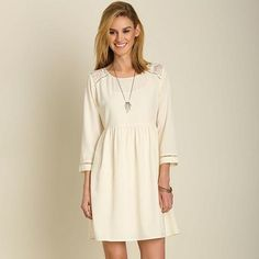 Date Night Dress with Lace Detail- Cream