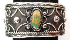 Navajo-Silver-and-Turquoise-Bracelet-Cuff-Native-American-Signed-NEZ-720