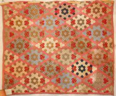 Antique Hexagon Full Quilt 1860's Field of Dreams Pattern | eBay