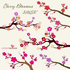 INSTANT DOWNLOAD  CHERRY Blossoms  Dusk  Clip art by urbanwillow, $4.95