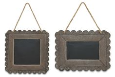 """13"""" SQ, 13"""" L x 19.5"""" H Metal-Rust/Black  Chalkboards- sure every nest seems to have one these days but not a hanging, metal framed chalkboard that is just chirping for a message or two! Scalloped edge punchwork in a sweet floral pattern with jute hangers."""