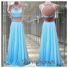 #promdress01 prom dresses, two pieces open back ice blue long modest prom dress for teens, ball gown, occasion dress #prom2k15 #promdress -> http://www.podecut.com/Goods/Goods/id/8096575.html