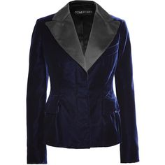TOM FORD Satin-trimmed velvet blazer ($2,570) ❤ liked on Polyvore featuring outerwear, jackets, blazers, tom ford, tom ford jacket, blue velvet jacket, blazer jacket and blue jackets