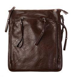 KISS GOLD Umhängetasche Ledertasche Brieftasche braun, 23x3.8x30cm