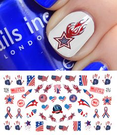 4th of July nail art set #2 from www.moonsugardecals.com