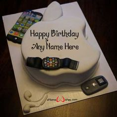 Write name on pictures by stylizing their names and captions by generating text onApple Logo Birthday Wish Cake with Name with ease. Write Name On Cake, Birthday Cake Write Name, Birthday Wishes With Name, Birthday Cake Writing, Apple Birthday, Wish You Happy Birthday, Happy Birthday Cake Images, Birthday Wishes Cake, Cake Name