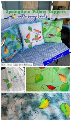 DIY Painted Spring Pillow Toppers with cute songbirds made by painting right onto fabric - actually very easy! http://www.front-porch-ideas-and-more.com/songbird-pillow-toppers.html