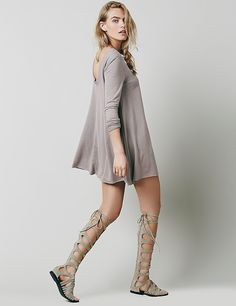 Miageek (TM) Gray Backless Chiffon Dress Boyfriend Style, Chiffon Dress, Knee Boots, Backless, Fashion Dresses, Gray, Chic, Clothes, Chiffon Gown