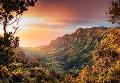 Kalalau Valley, Sunset, Kauaii Hawaii, USA by Michele Falzone, via 500px
