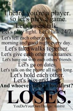 i heard your a player lets play a game quote
