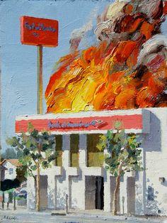 Alex Schaefer - Burning Bank (BofA) series, 2011, Oil on canvas
