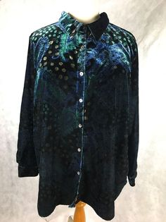 womenu0027s button down top blouse sz 26 28 4x crushed velvet blue green black ebay