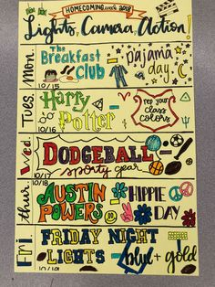 AGHS flyer for Homecoming 2018 celebrating movie genres.You can find Spirit week ideas and more on our website.AGHS flyer for Homecoming 2018 celebrating movie genres. High School Life, School Week, School Fun, School Goals, School Stuff, Spirit Week Themes, Spirit Day Ideas, High School Homecoming, Homecoming Week