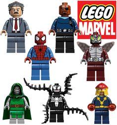 Unknown, Nick Fury, Spider-Man, Beetle, Dr. Doom, Venom and Nova Lego Marvel, Marvel Avengers, Marvel Comics, Nick Fury, San Diego Comic Con, Doctor Doom, Iron Man Cartoon, Game 2018, Man Games